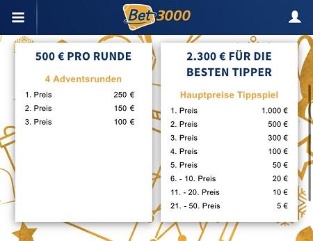 advent gewinnspiel bet3000