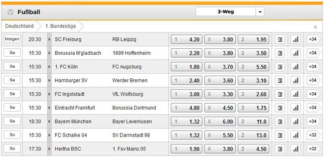 Bet3000 Fußballwetten mit Spielen aus der deutschen Bundesliga