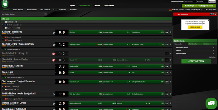 Bet90 Screenshot Livewetten Center Spezialwetten
