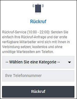 Screenshot zeigt den Betano Rueckruf-Service