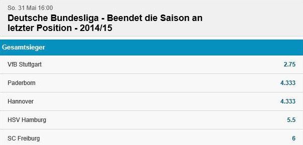 Spezialwetten Bundesliga Betvictor