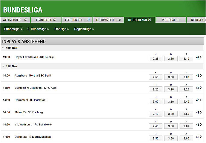 Ladbrokes Wettquoten für Spiele der deutschen Bundesliga