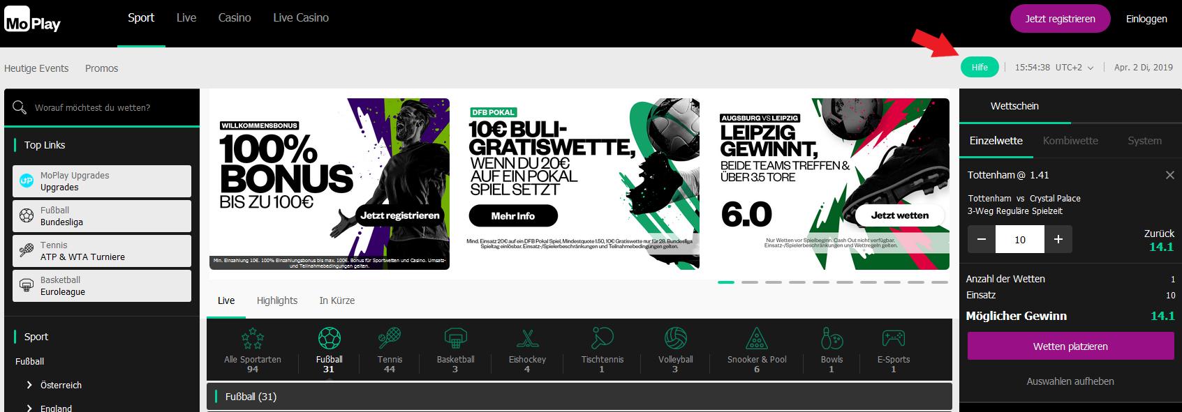 """MoPlay Startseite & """"Hilfe""""-Button"""