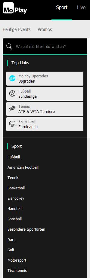MoPlay Sportarten