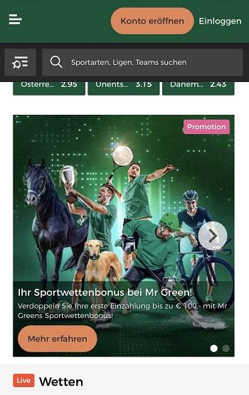 MR Green Neukundenbonus