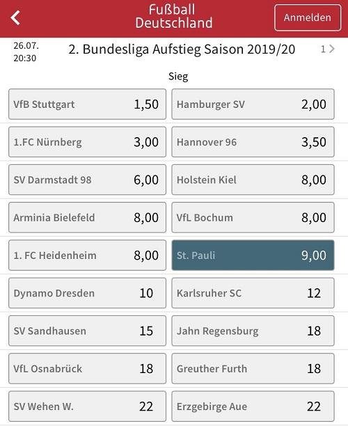 St. Pauli Aufstieg Wetten