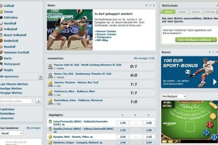 Bet-at-home Wetten – Website Design und Navigation