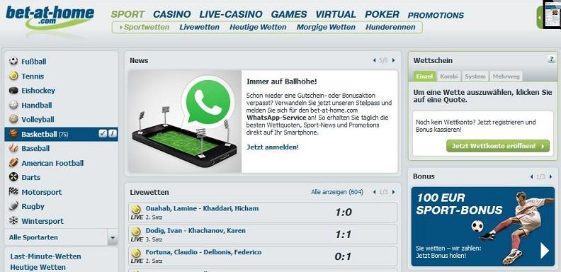 Screenshot der Wettseite von Bet-at-home