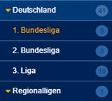Ausschnitt aus dem Wettprogramm von Bet3000 mit deutschem Fußball