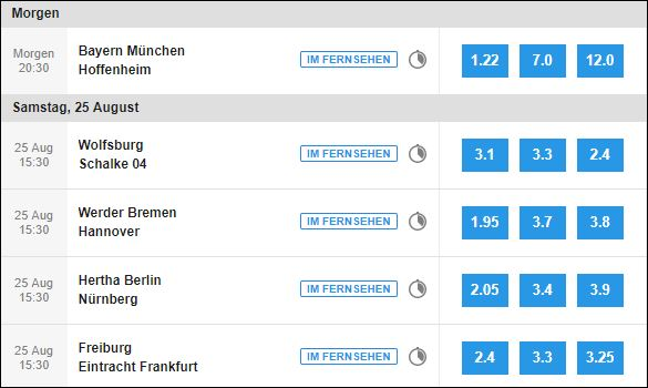 Bundesliga Quoten Betfair