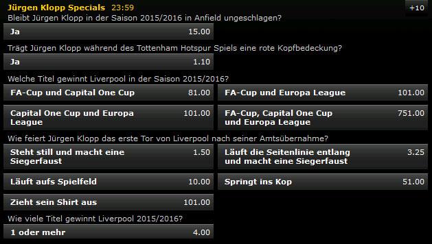Bwin Spezialwetten zu Klopp / Liverpool