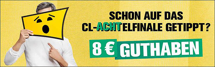 8 Euro Startguthaben zum Champions League Achtelfinale bei Interwetten