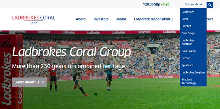 Screenshot der Investorenseite von Ladbrokes Coral