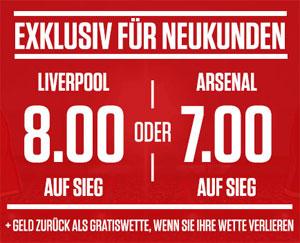 Ladbrokes Neukunden Angebot zu Liverpool - Arsenal