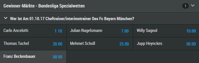 Mybet Wtte - Ancelotti im Oktober noch Bayerntrainer?
