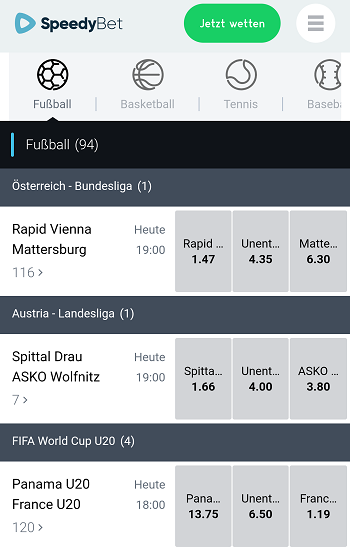 Bundesliga Quoten bei SpeedyBet
