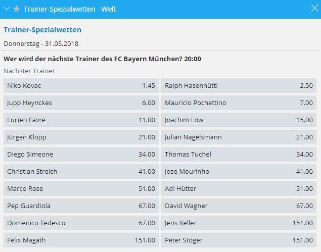 Wetten auf den neuen Bayern Trainer