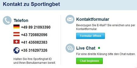 die Kontaktmöglichkeiten im Kundenservice von Sportingbet