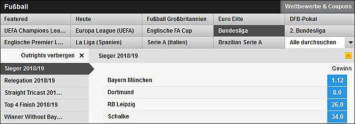 Betfair Fußballwetten - Bundesliga Langzeitwetten
