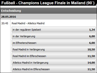 CL Finale 2016 bei Interwetten