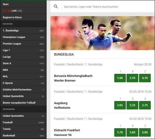 Unibet Bundesliga Quoten auf wettanbieter.de