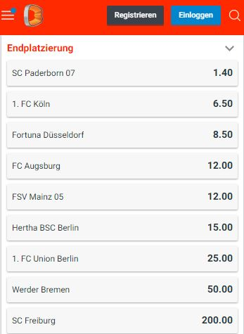 Bundesliga Absteiger Quoten