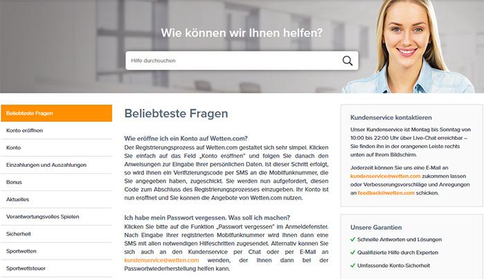 FAQs vom Wettanbieter Wetten.com