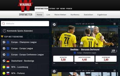 Winamax Screen Startseite