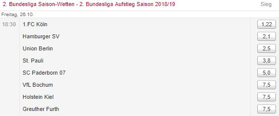 Quote Aufstieg 2. Liga